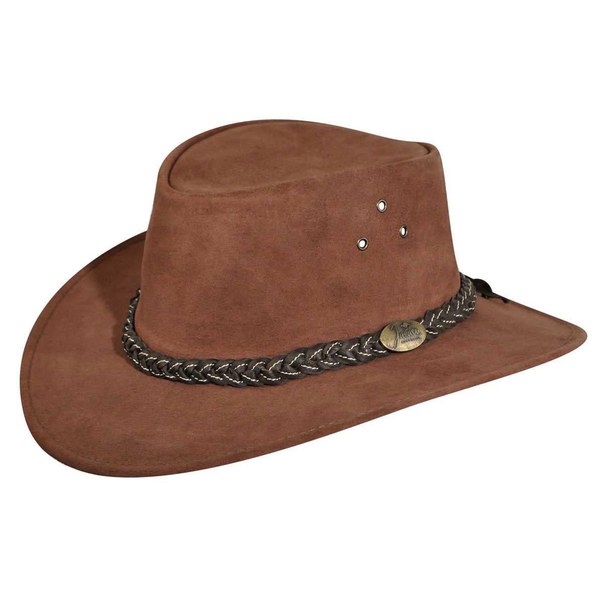 Jacaru Wallaroo Suede Outback Hat in Brown