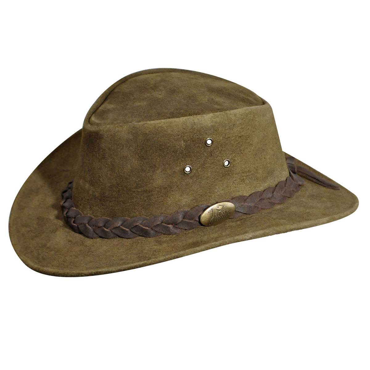 Jacaru Gabba Oiled Nubuck Suede Outback Hat in Military