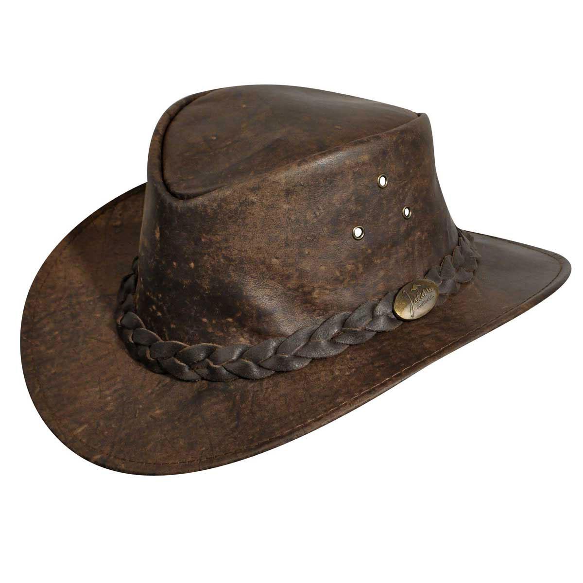 Jacaru Gabba Oiled Kangaroo Outback Hat in Stonewash