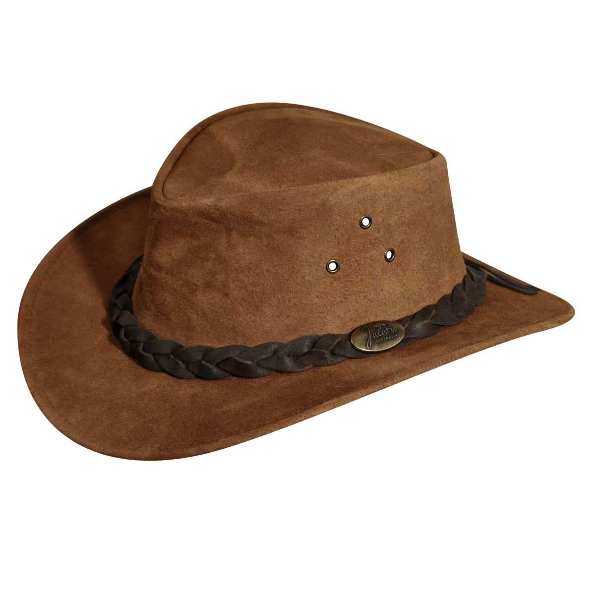 Jacaru Gabba Oiled Nubuck Suede Outback Hat in Tabac