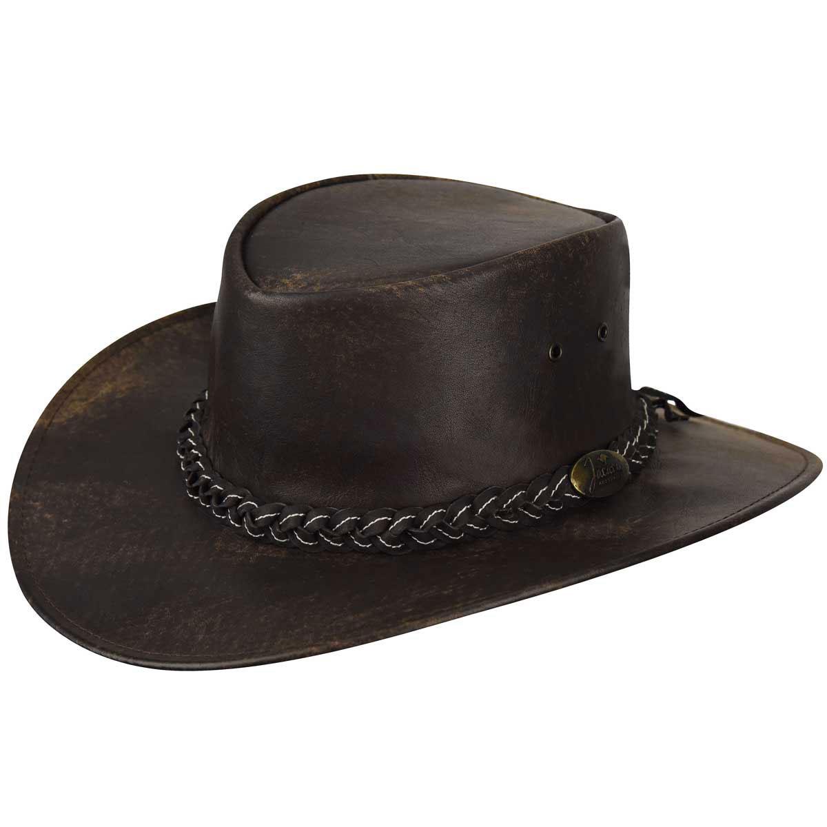 Jacaru Kangaroo Stonewashed Outback Hat in Stonewash