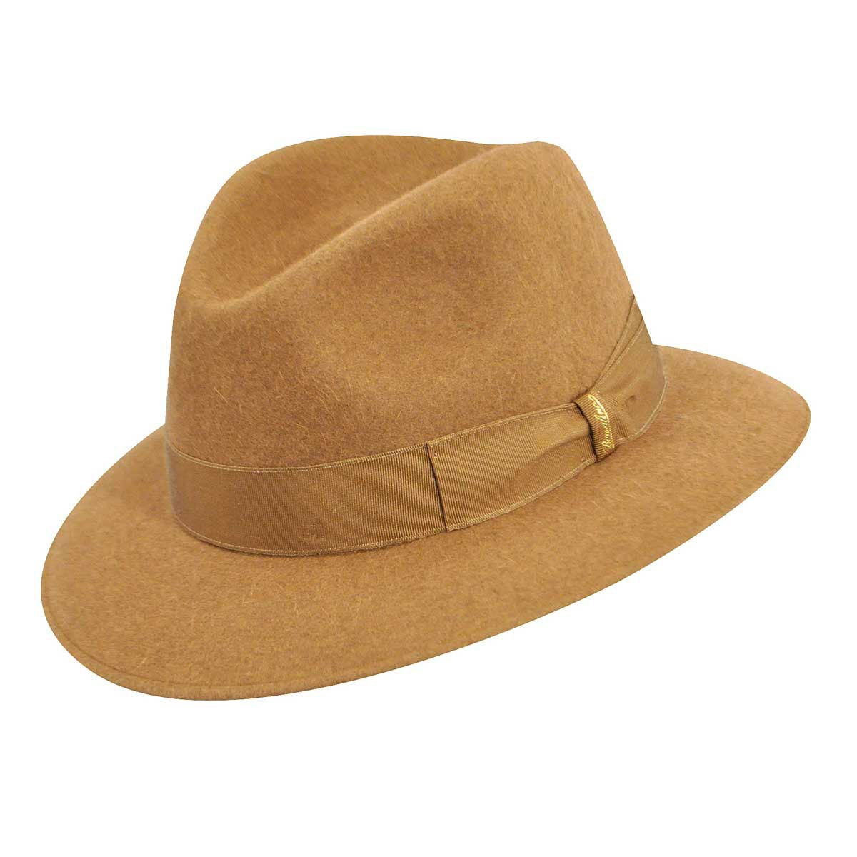 32ee863b2be Borsalino Mens 150253 Traveler Fur Felt Fedora Hat 7 1 4 Light Brown ...