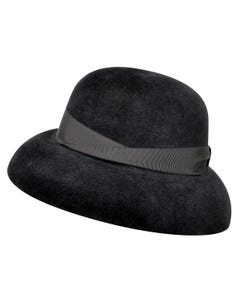 250385 Velour Fur Felt Wide Brim Hat