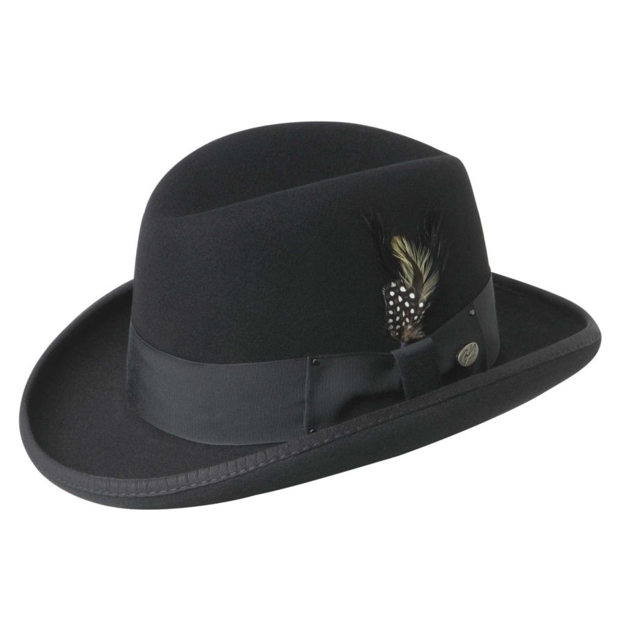 New Edwardian Style Men's Hats 1900-1920 Godfather Homburg $95.00 AT vintagedancer.com