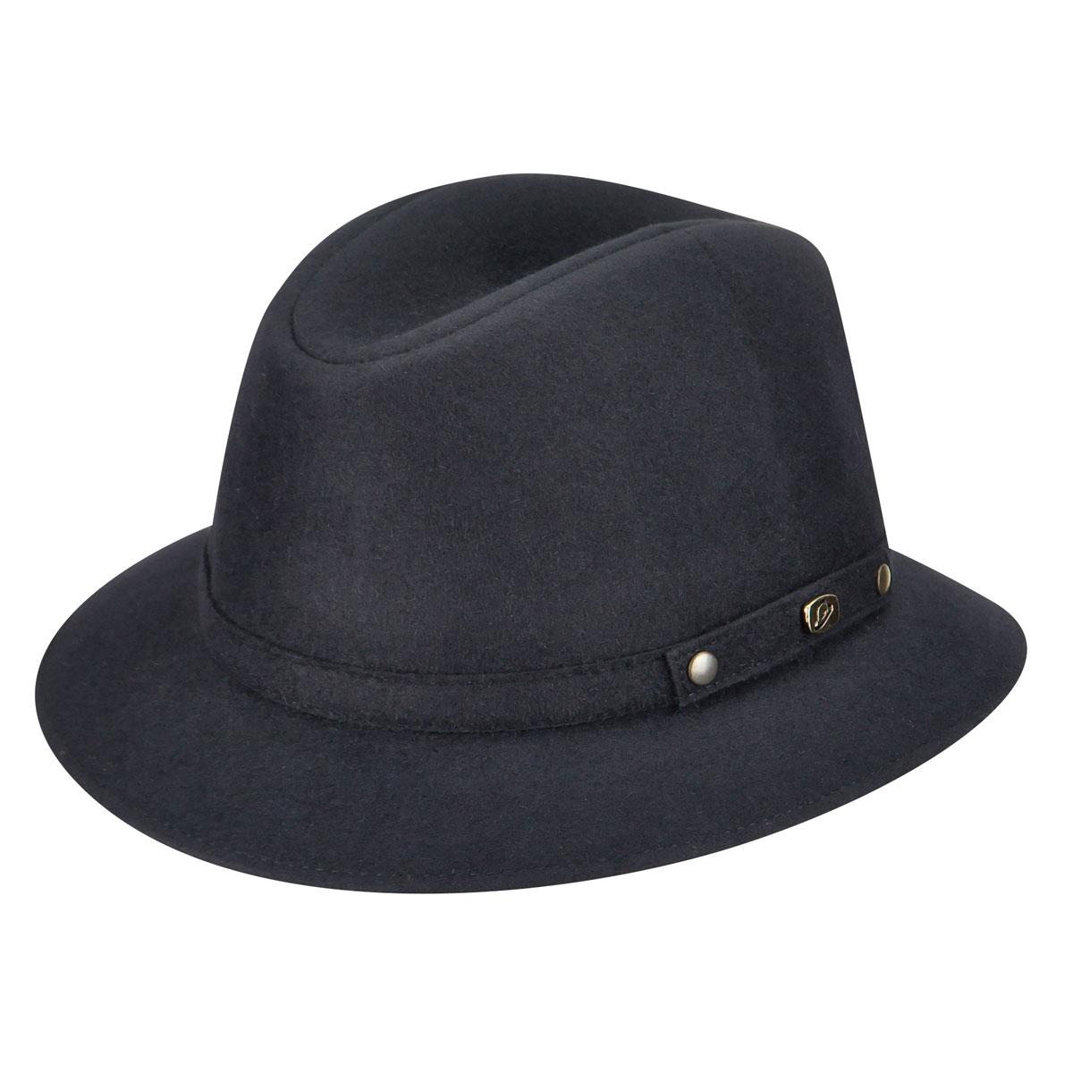 a5e9763ec02d5 Borsalino Male 390083 Alessandria Fur Felt Fedora 7 7 8 Blue