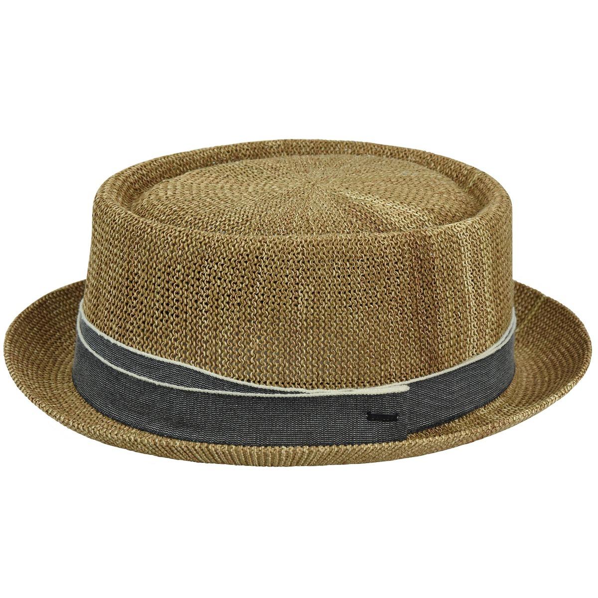 1950s Mens Hats | 50s Vintage Men's Hats Runkle Straw Pork Pie $80.00 AT vintagedancer.com