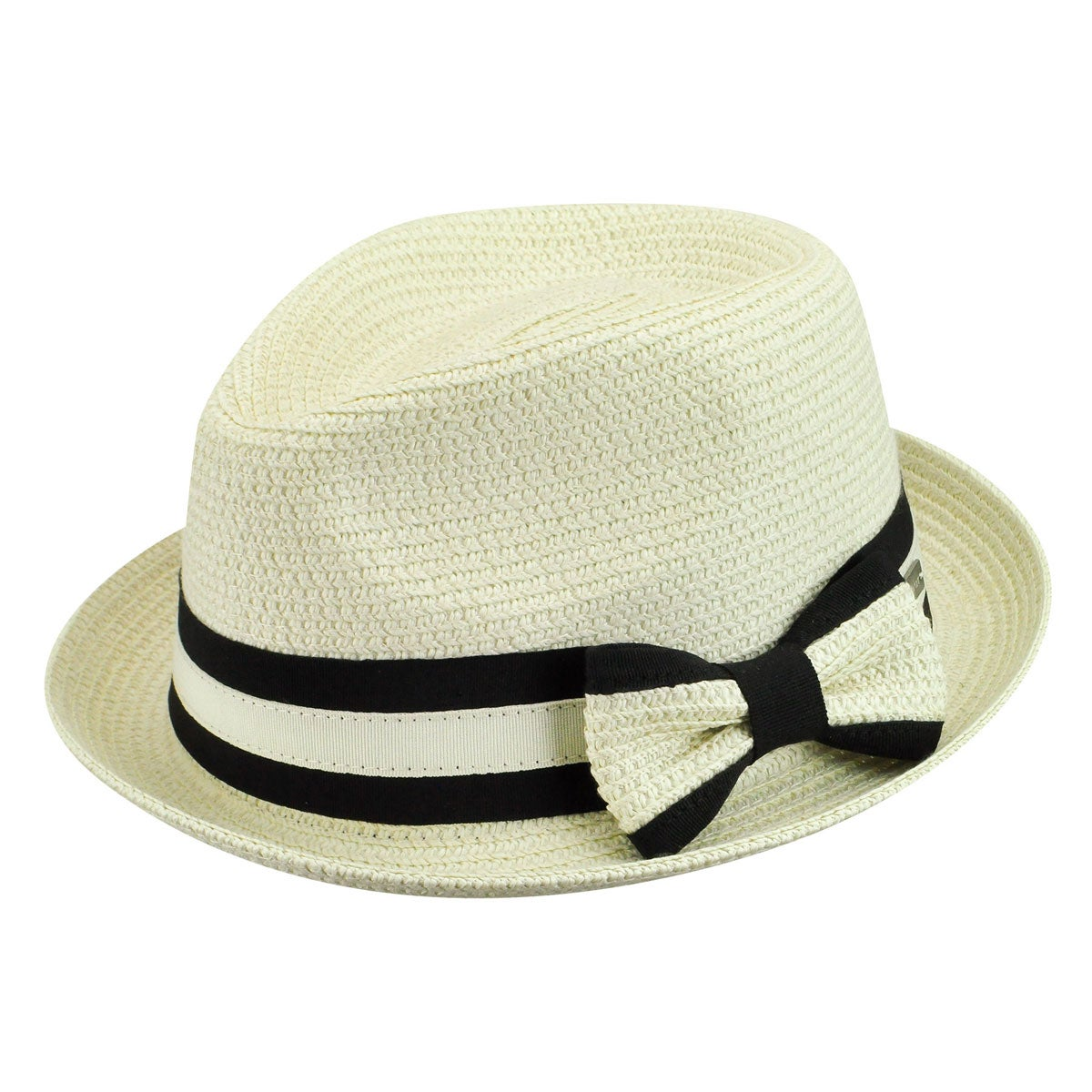 1920s Hat Styles for Women – History Beyond the Cloche Hat Joanne Braided Trilby - Ivory Multi1SFM $29.25 AT vintagedancer.com