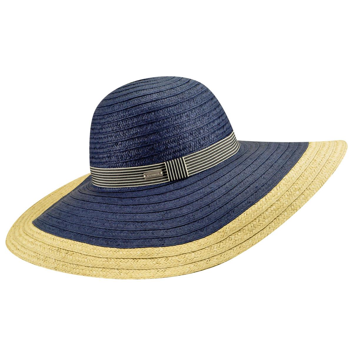 Betmar Lora Braided Floppy Wide Brim Hat in Navy,Natural