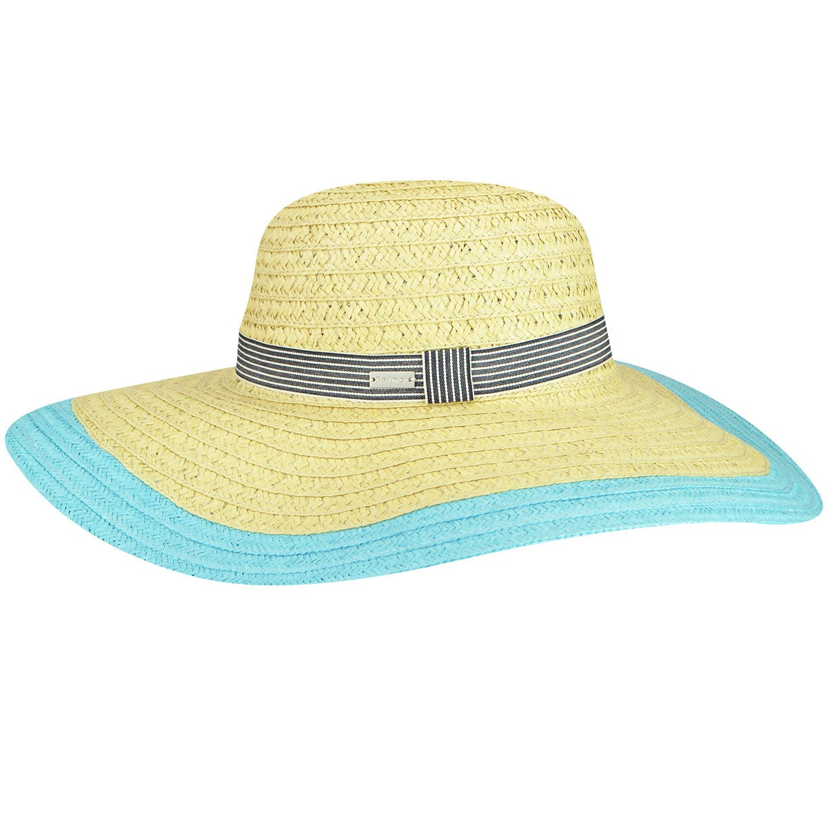 Betmar Lora Braided Floppy Wide Brim Hat in Natural,Turquoise