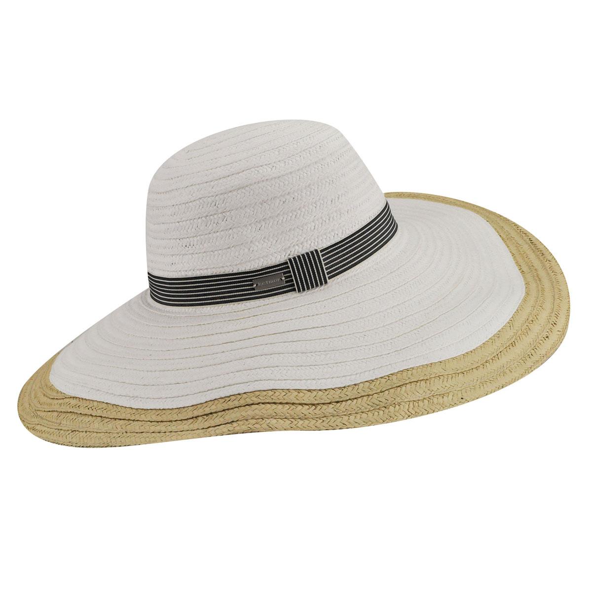 Betmar Lora Braided Floppy Wide Brim Hat in White,Natural