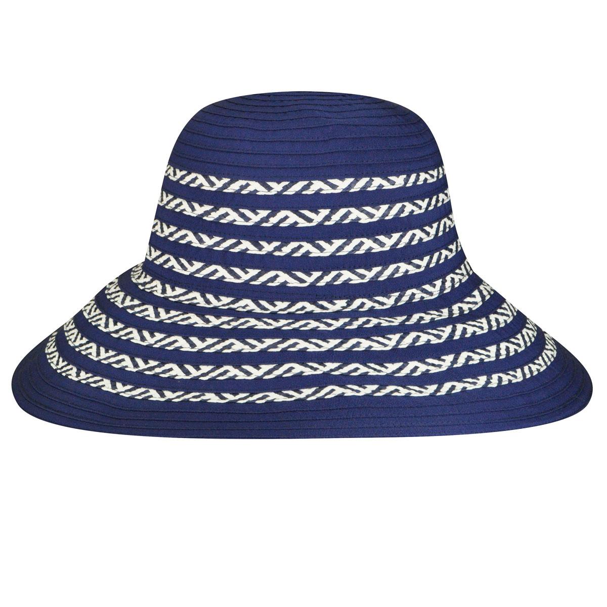 Betmar Corsica Wide Brim Hat in Navy,White