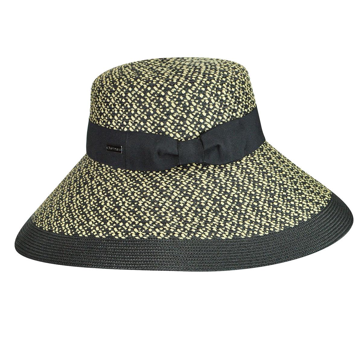 Betmar Audrey Braided Wide Brim Hat in Natural,Black