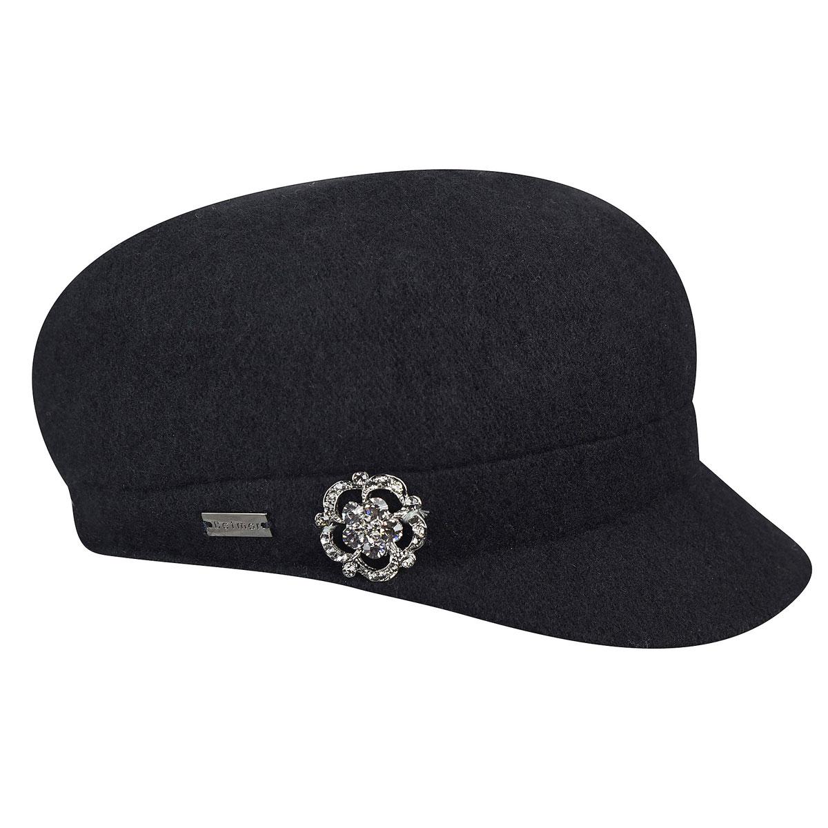 Betmar Crystal Fashion Cap in Black