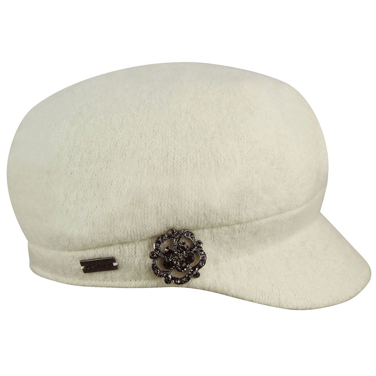 Betmar Crystal Fashion Cap in Winter White