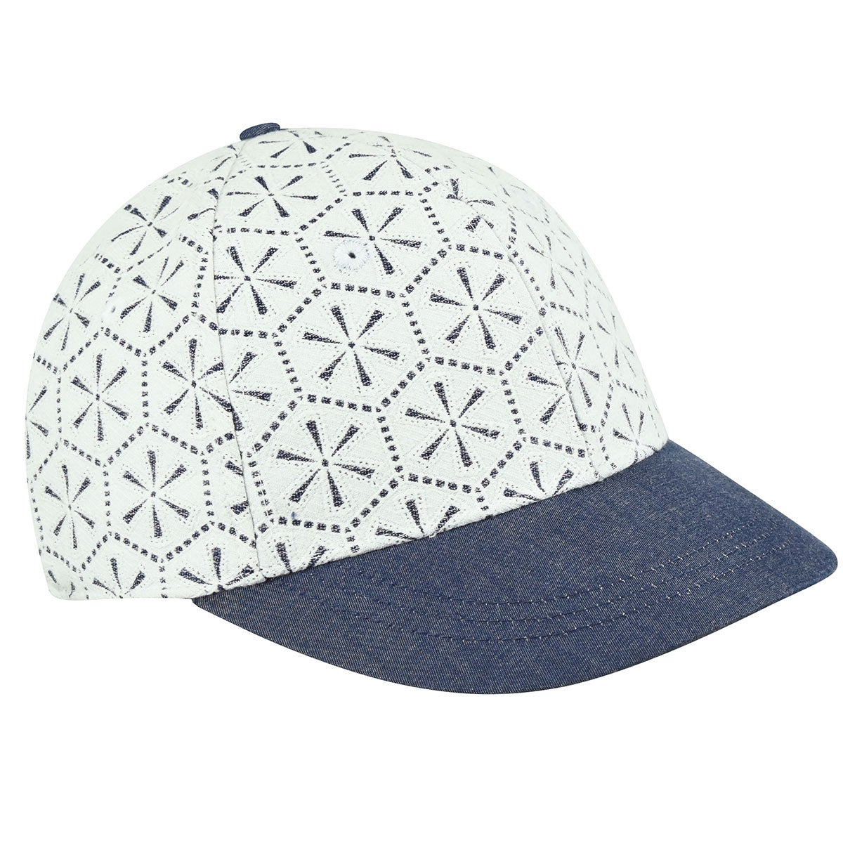 Betmar Lace Baseball Cap in White,Denim