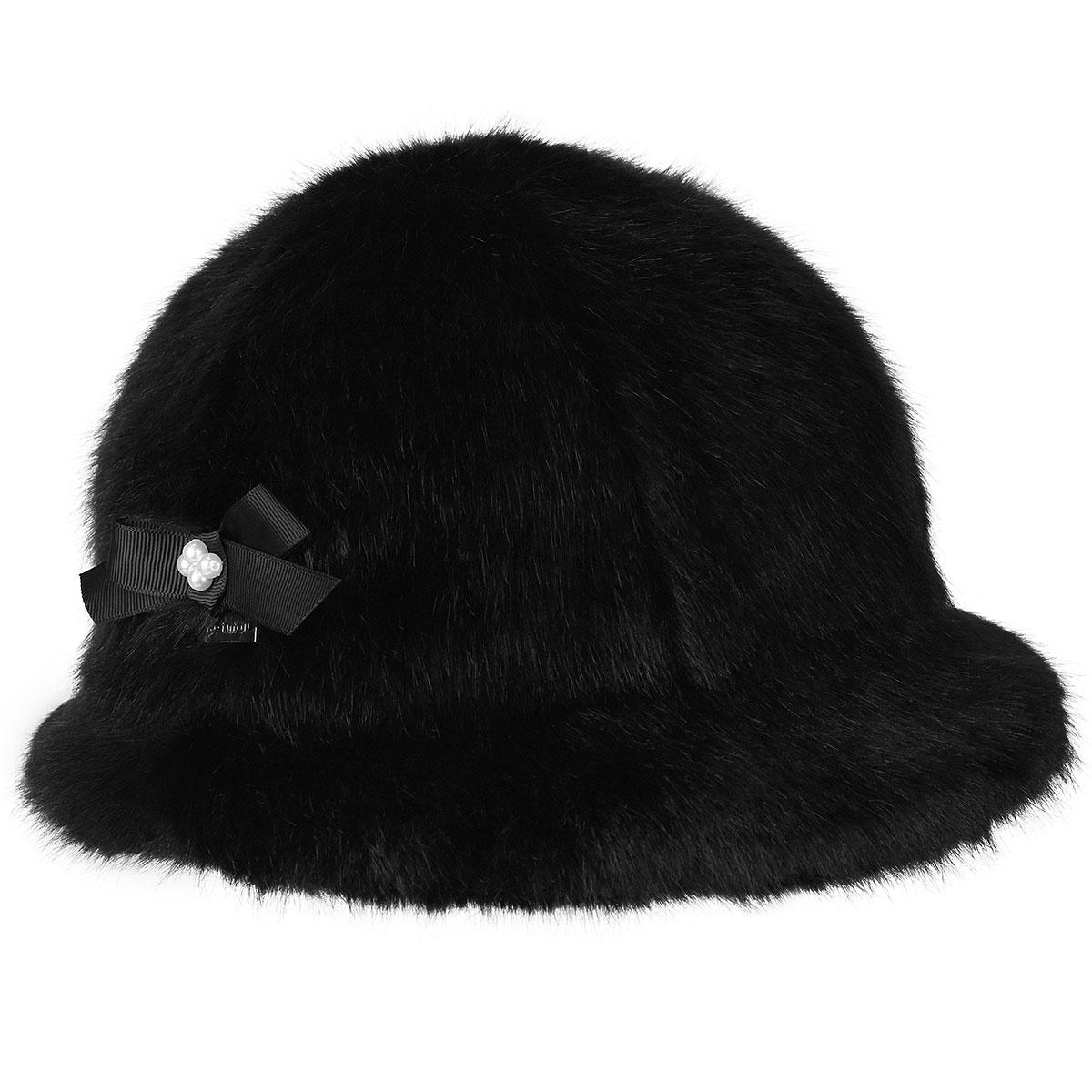 Betmar Suzette Faux Fur Cloche in Black