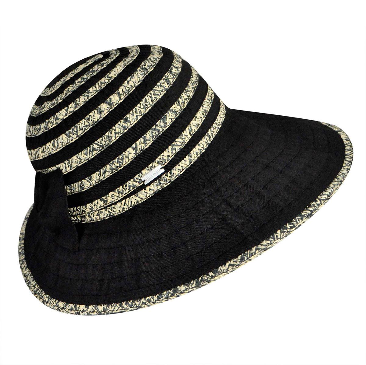 Betmar Donna Wide Brim Sun Hat in Black Multi