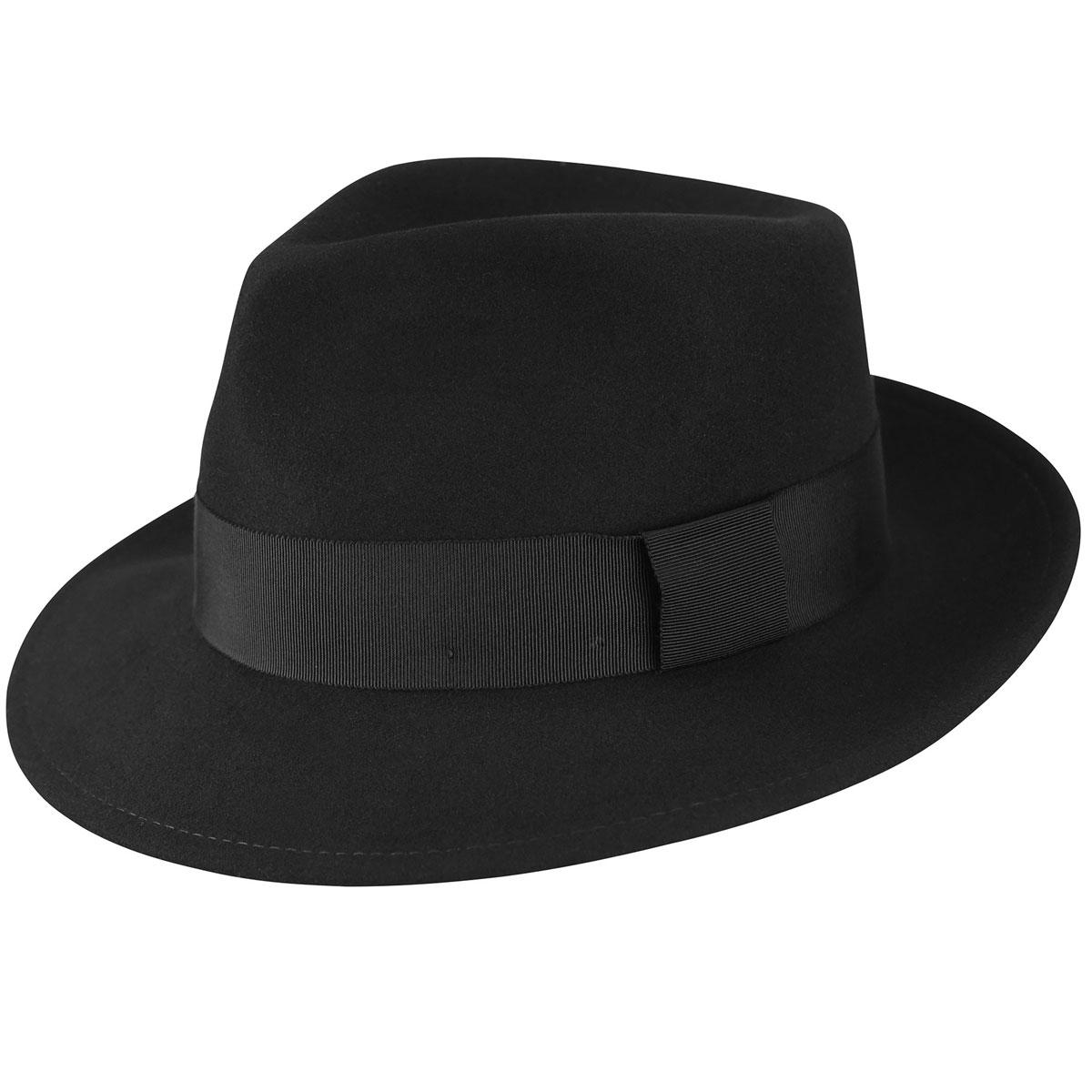 Pantropic Branson Litefelt Fedora in Black,Black