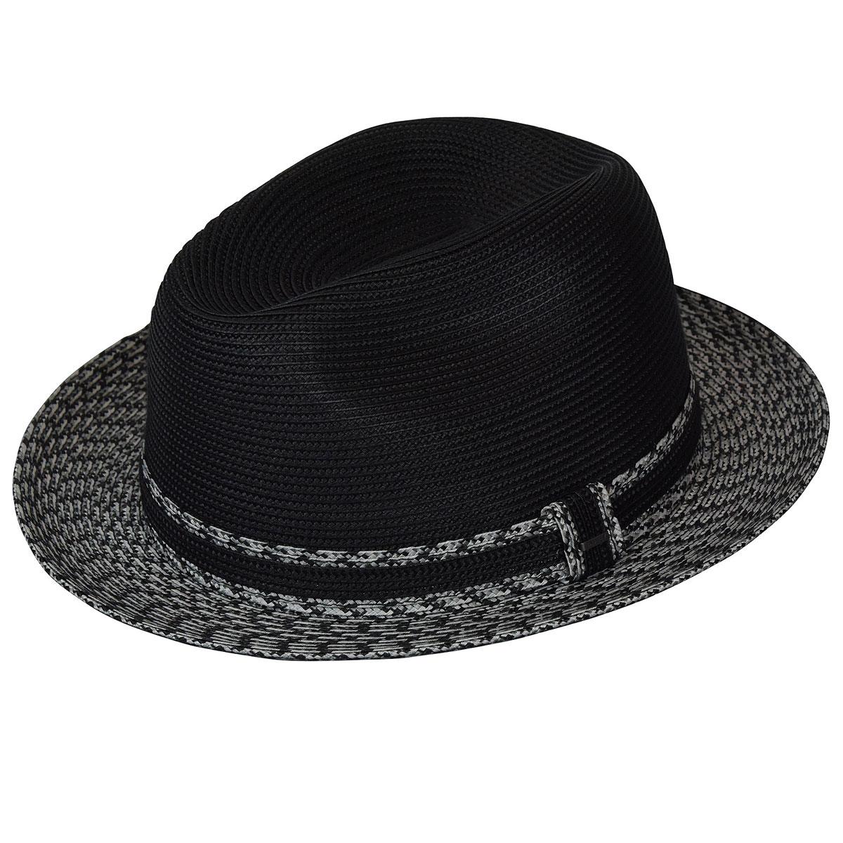 Bailey of Hollywood Mannesroe Braided Fedora in Black,Charcoal Multi