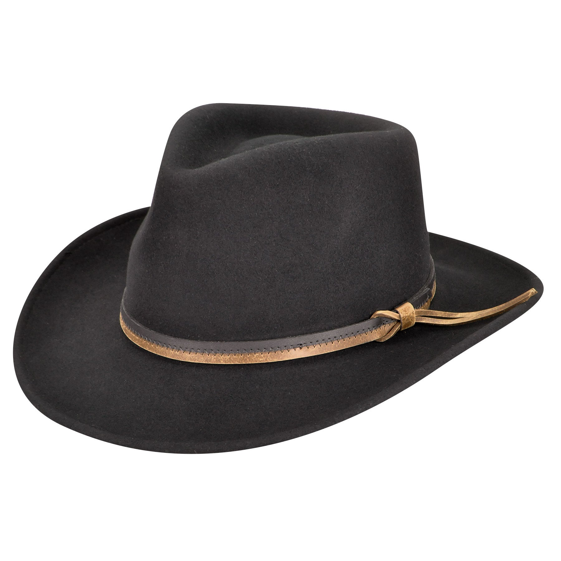 Country Gentleman Felt Outback Hat in Black