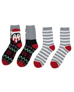 Holiday Penguin 2-pack Velour Slipper Socks