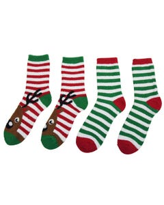 Holiday Reindeer 2-pack Velour Slipper Socks