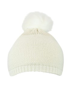 Mixed Purl Beanie w Faux Fur Pom