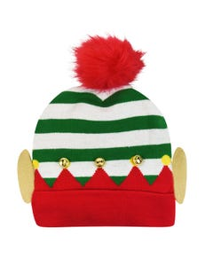 Novelty Elf Holiday Beanie with Bells