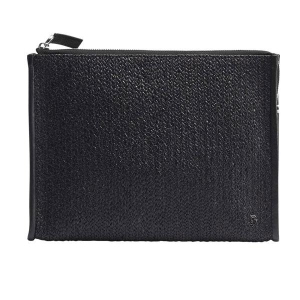 Kaminski Carlo Raffia Wallet in Black