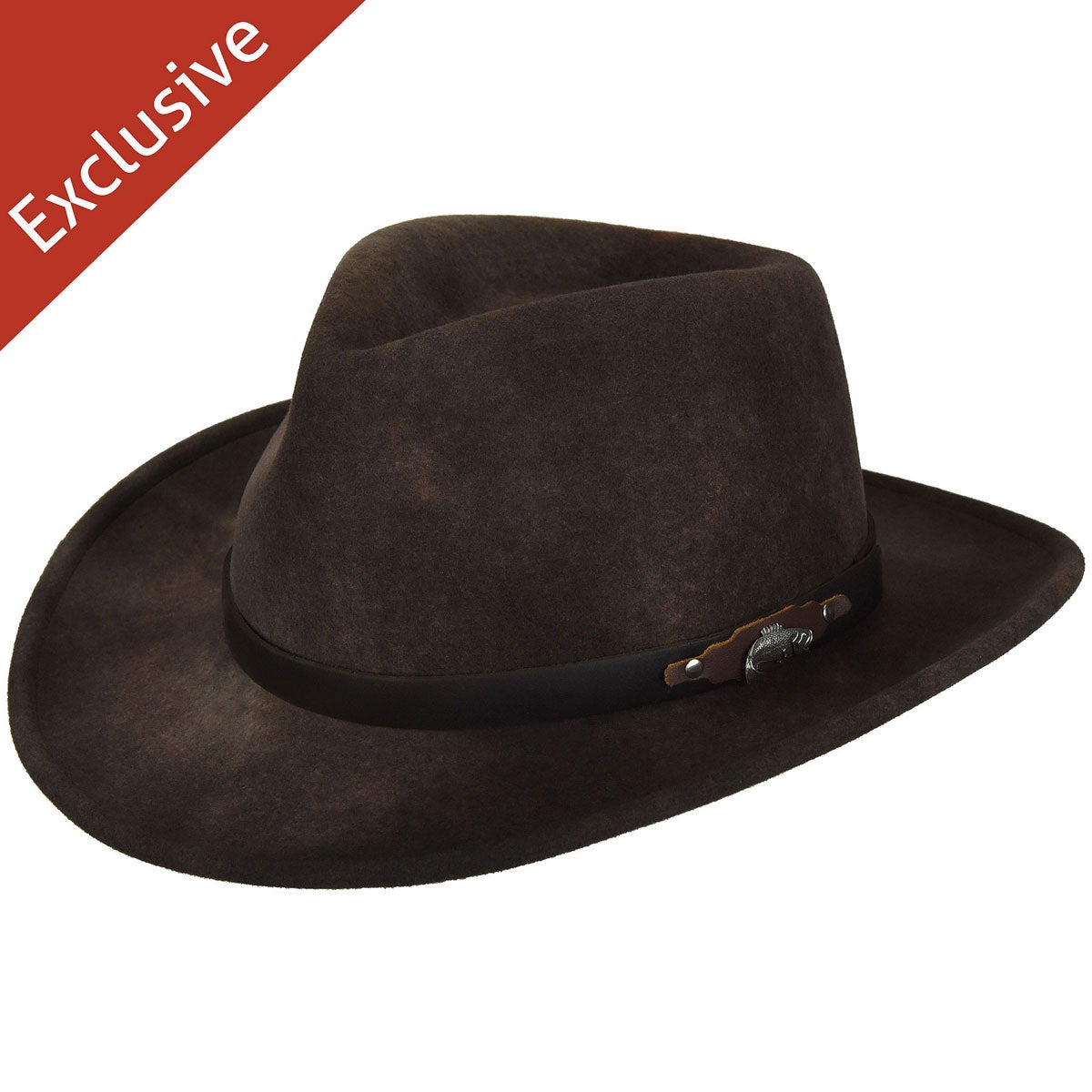 Hats.com Gadabout Outback Hat - Exclusive in Distressed Brown
