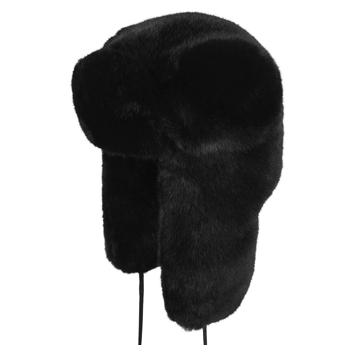 Kangol Faux Fur Trapper in Black