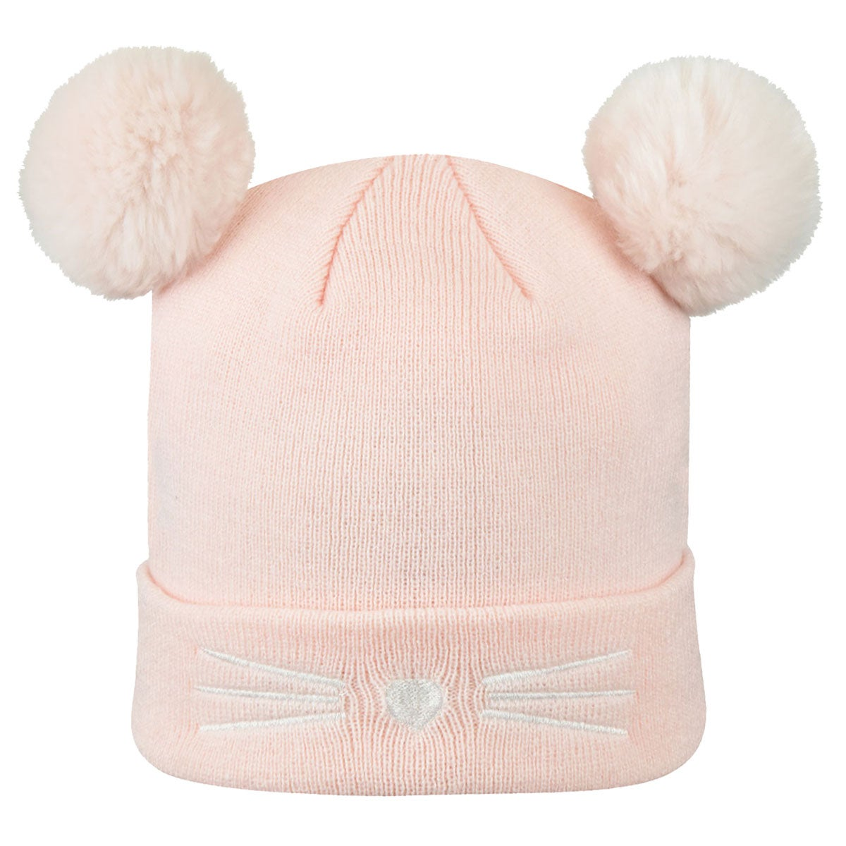 Capelli / GMA Accessories Knit Beanie with Double Faux Fur Pom in Light Pink