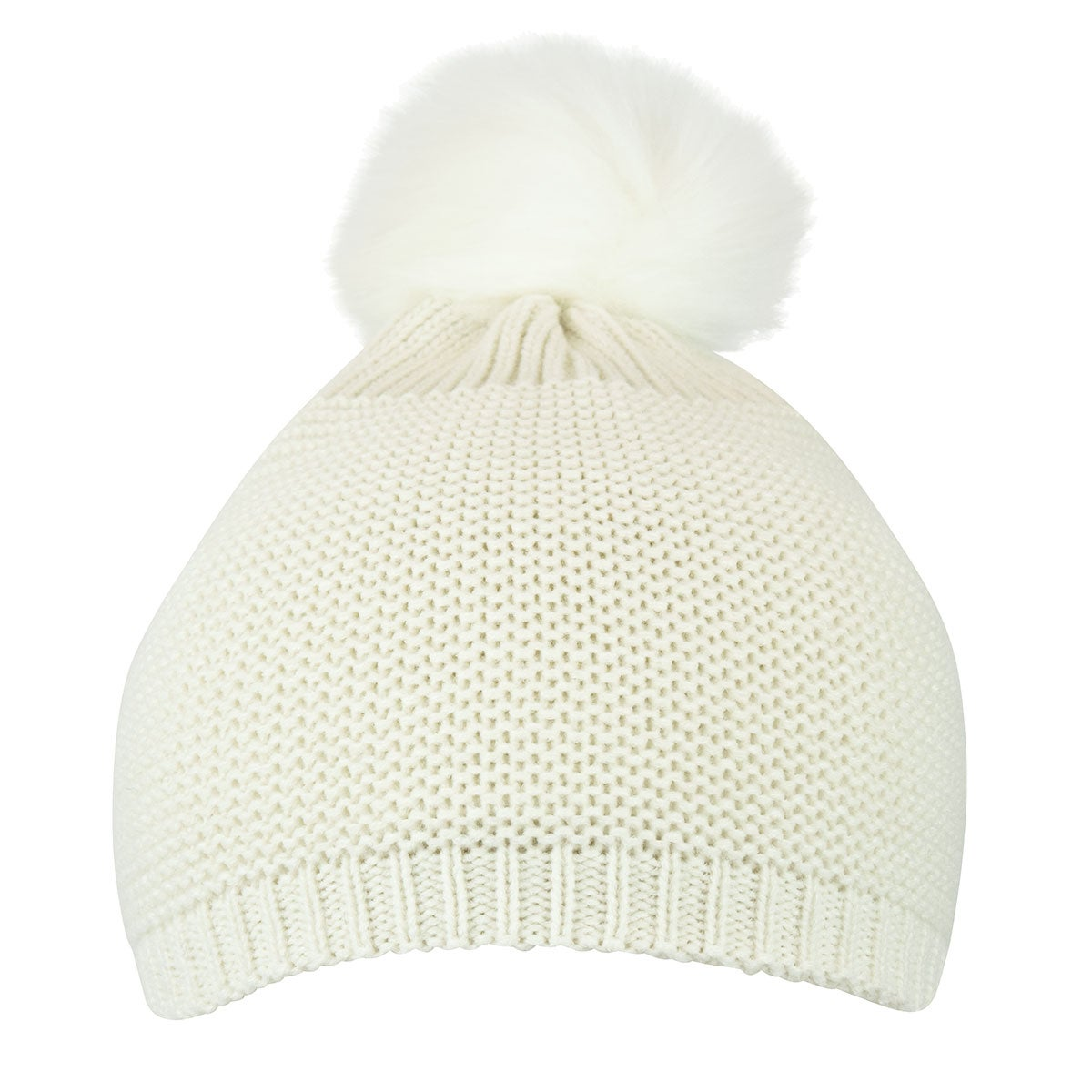 Capelli / GMA Accessories Mixed Purl Beanie w Faux Fur Pom in Ivory