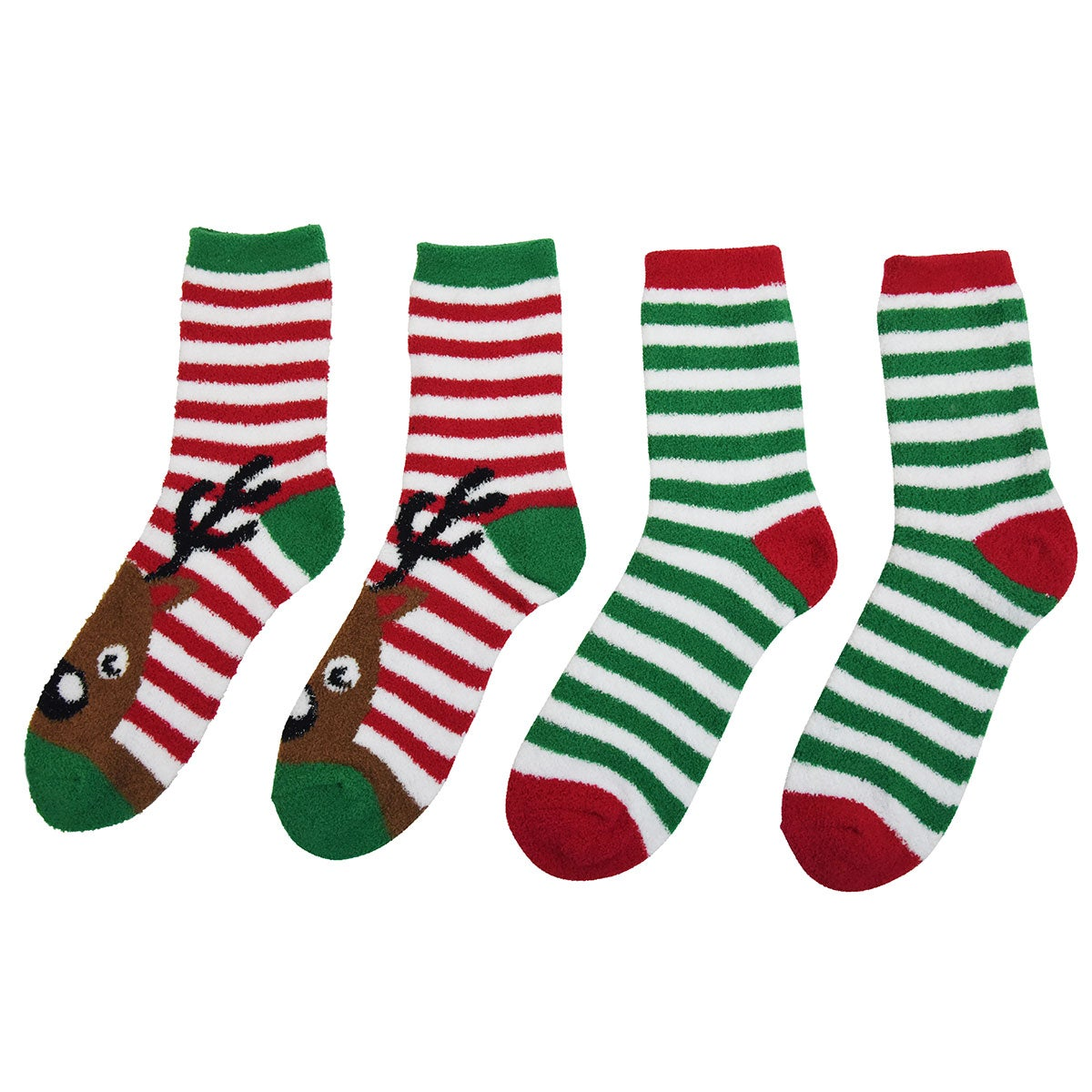 Capelli / GMA Accessories Holiday Reindeer 2-pack Velour Slipper Socks in Red Mix