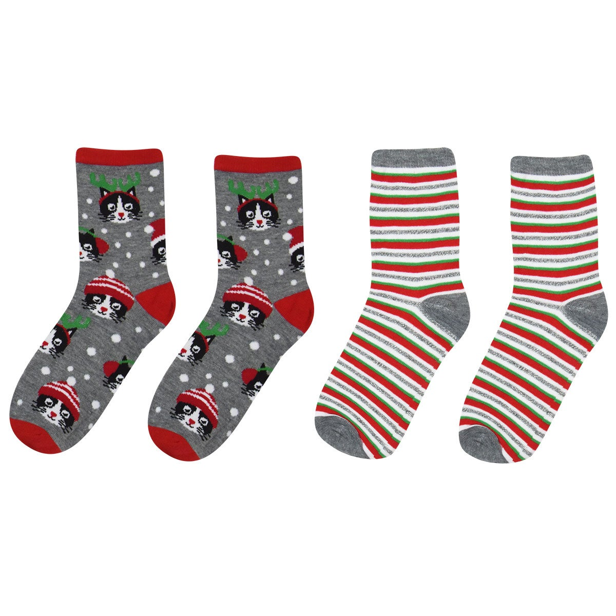 Capelli / GMA Accessories Meowy Holiday 2-pack Socks in Grey Multi