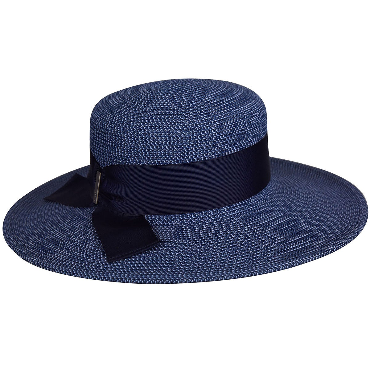 Betmar Manchester Braided Wide Brim Boater in Navy Multi