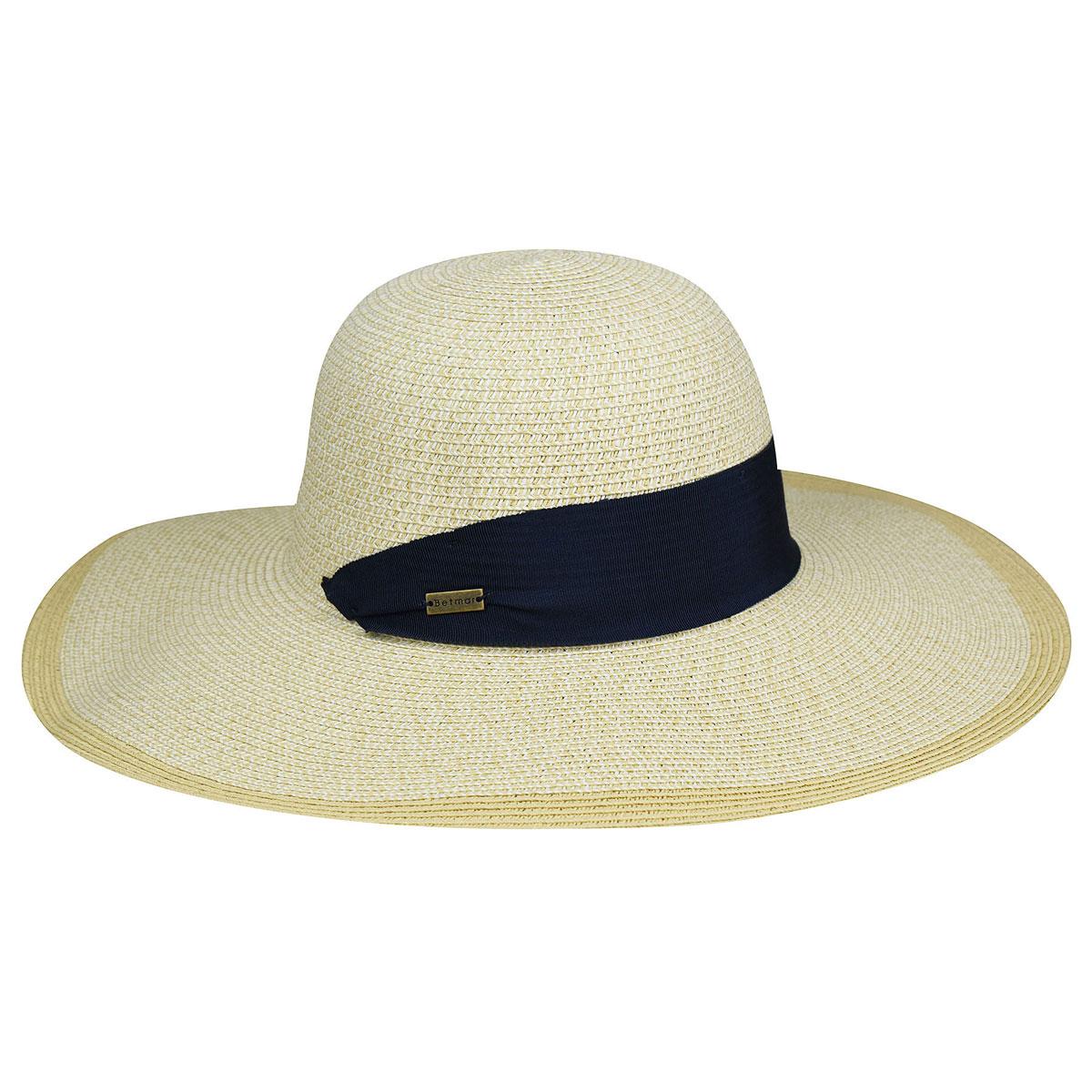 Betmar Barret Braided Floppy Hat in Natural,White