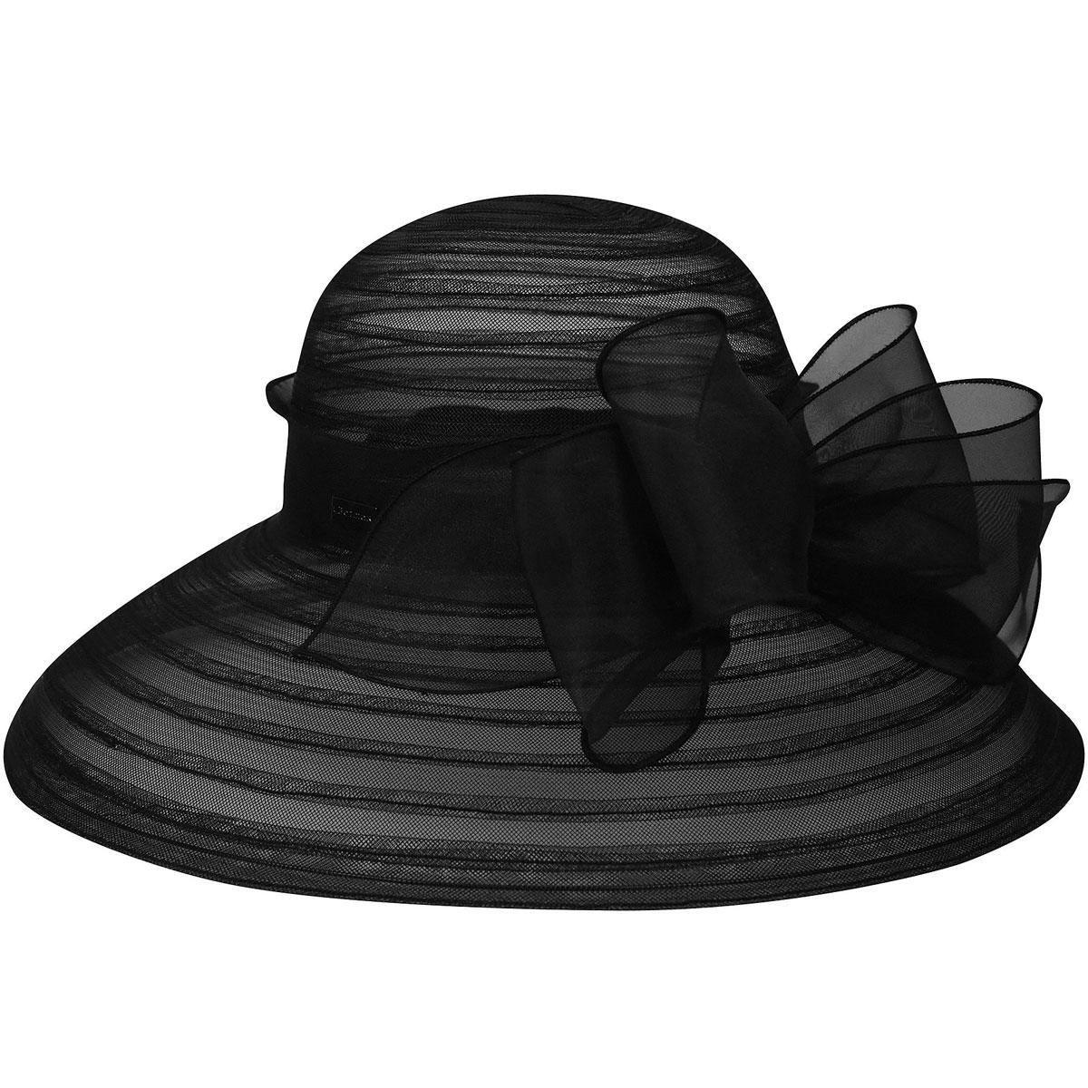 Betmar Valentina Asymmetric Wide Brim Occasion Hat in Black