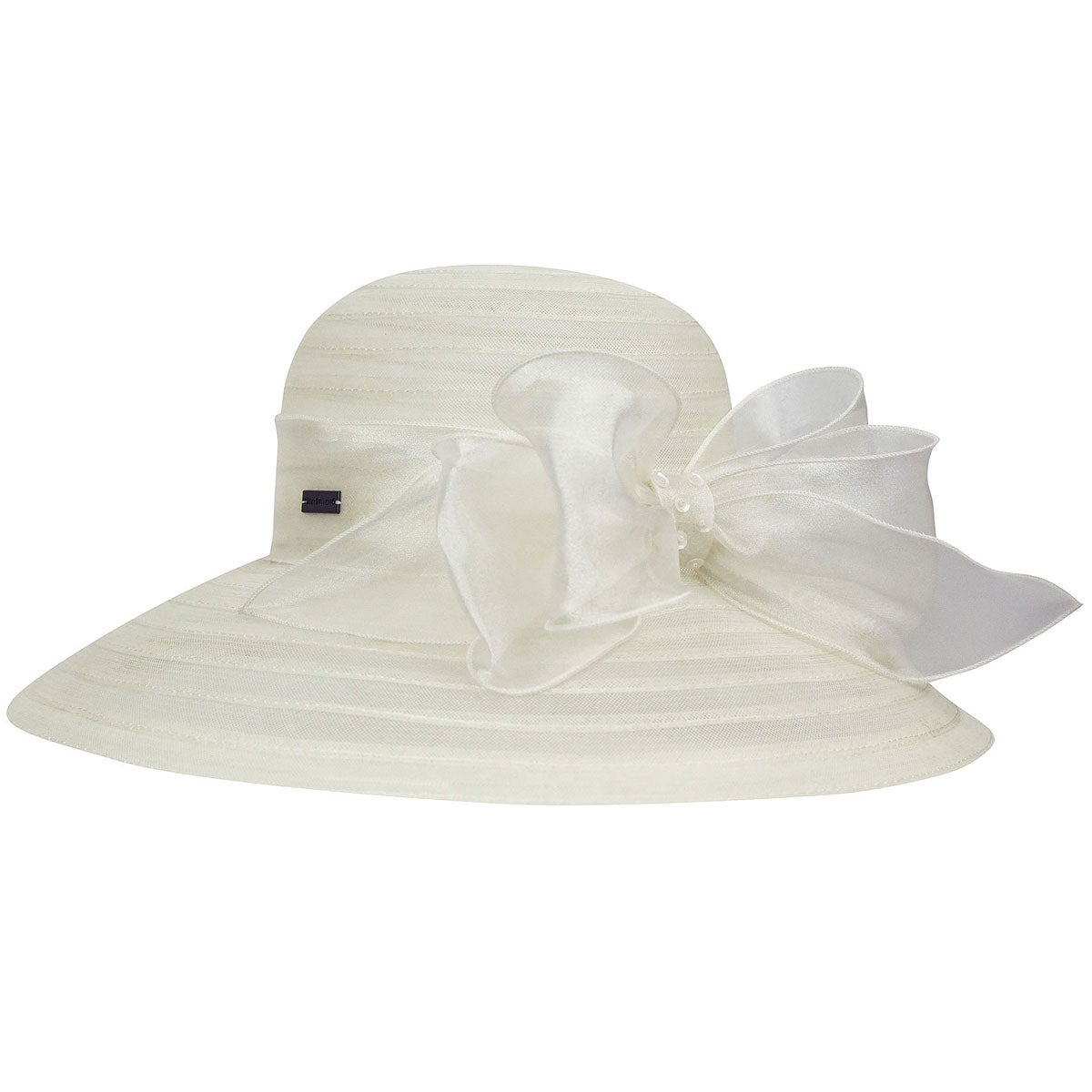 Betmar Valentina Asymmetric Wide Brim Occasion Hat in Cream