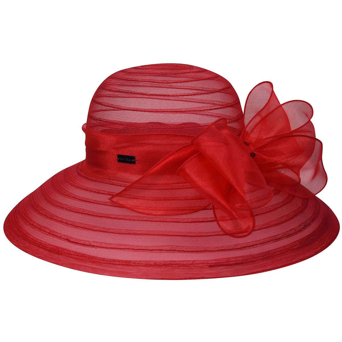 Betmar Valentina Asymmetric Wide Brim Occasion Hat in Scarlet