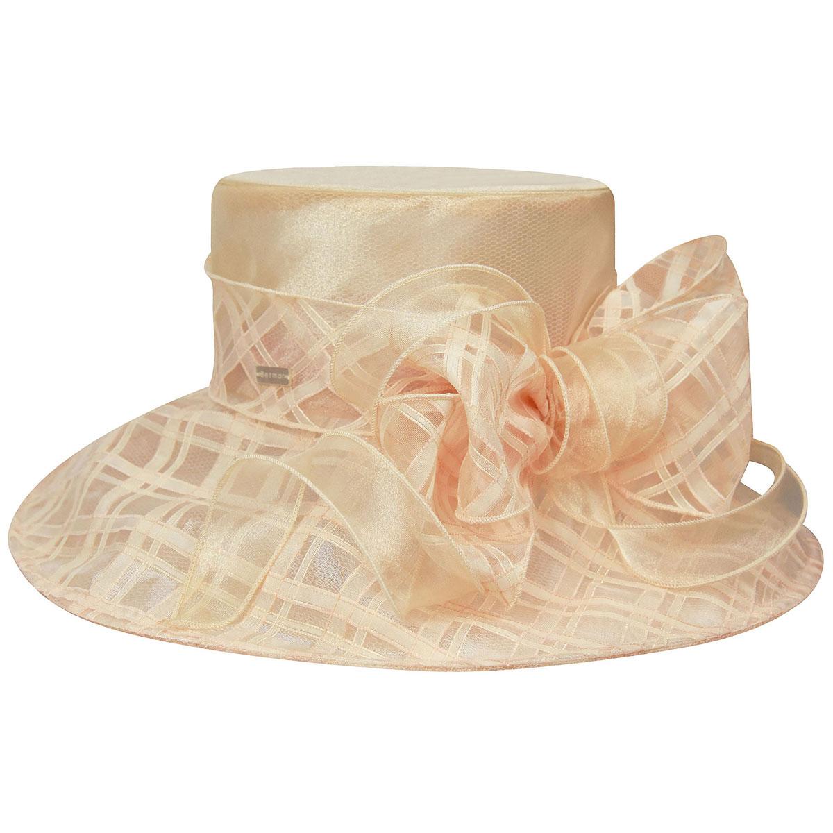 Betmar Odette Wide Brim Occasion Hat in Peach