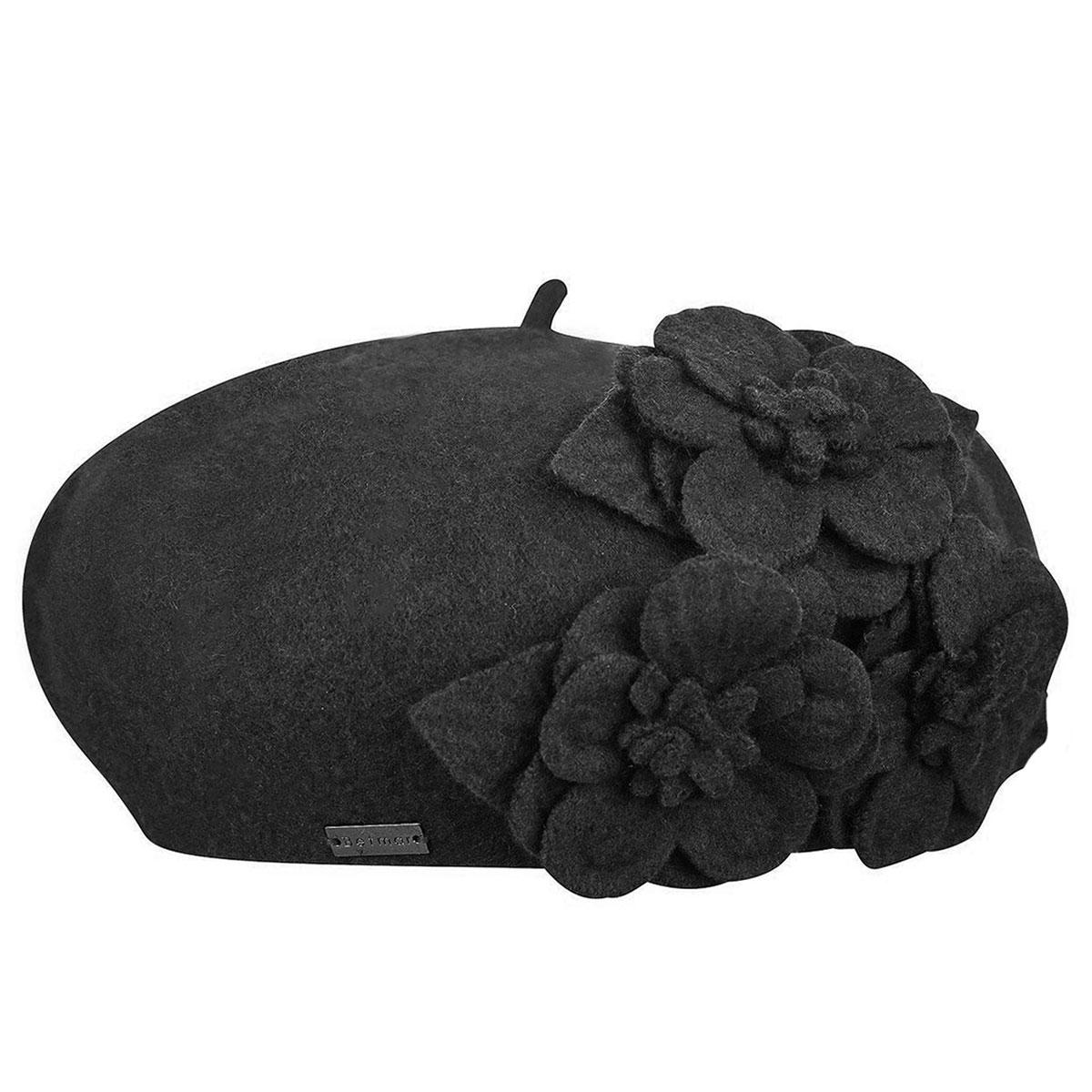 Betmar Flower Beret in Black