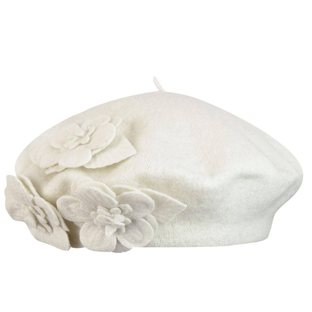 Betmar Flower Beret in Whisper White