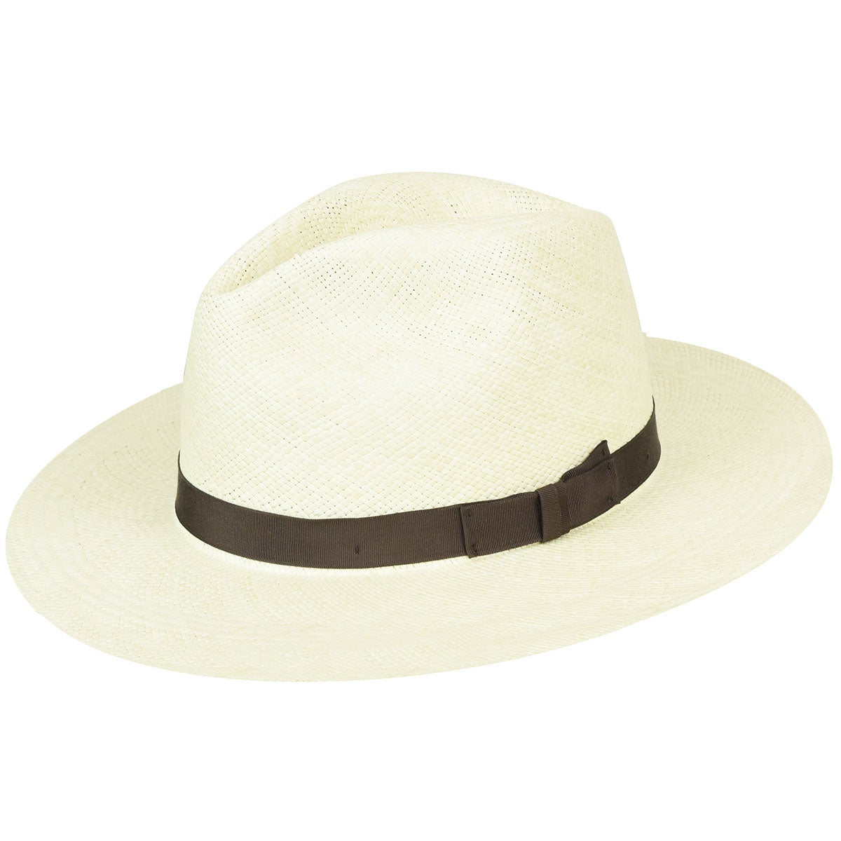 Pantropic Classic Fedora Panama Hat in Natural,Brown
