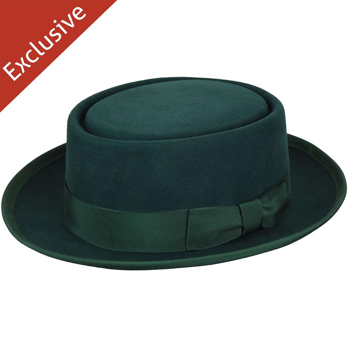 Hats.com Danger Pork Pie - Exclusive in Dark Green