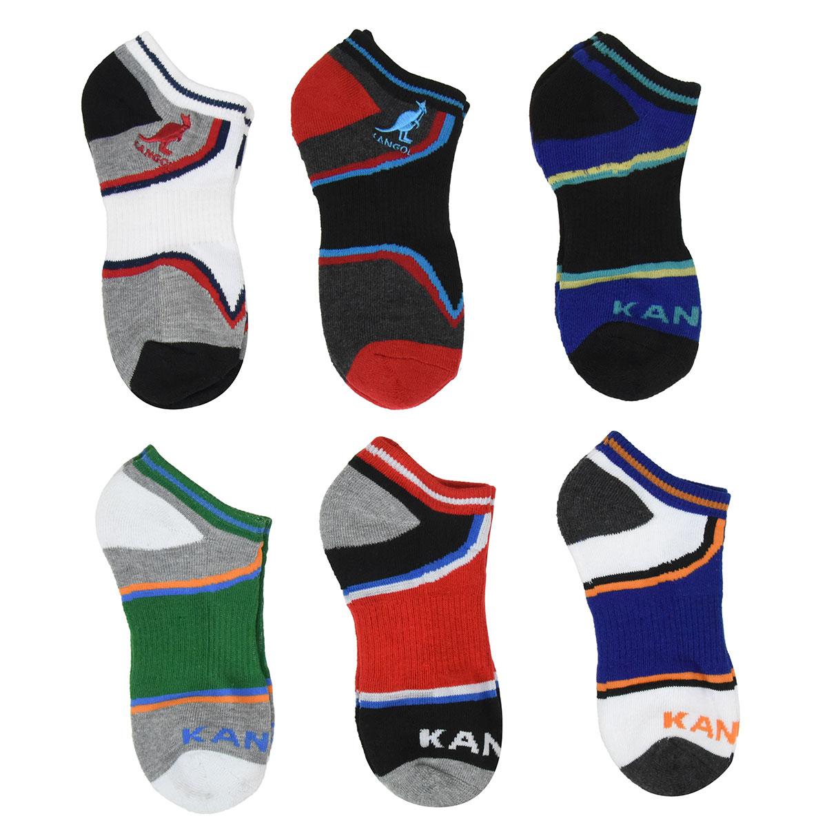 Kangol Kangol Kids Wide Stripe No Show Socks - 6 Pack in Assorted