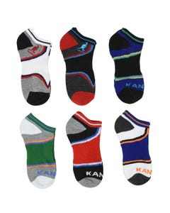 Kangol Kids Wide Stripe No Show Socks - 6 Pack