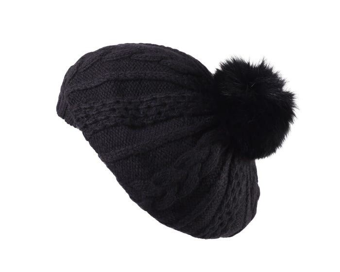 672036a4c898d Mirelle is a luxuriously oversized, volume Beret that features a fox fur  pom-pom. This hand-knitted pure cashmere beret is designed with a beautufil  cable ...