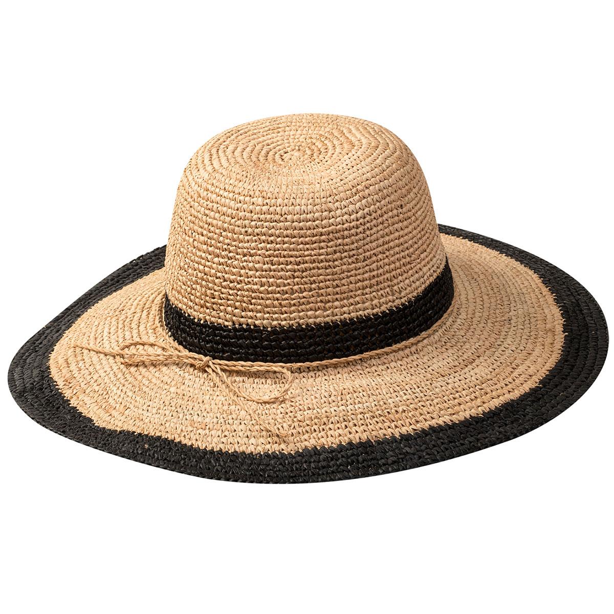 Pantropic Margate Raffia Wide Brim Sun Hat in Natural,Black