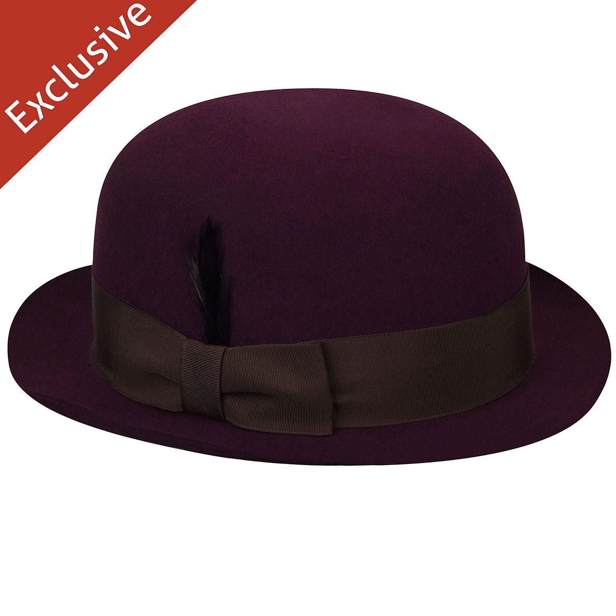 Hats.com Renee Bowler in Eggplant